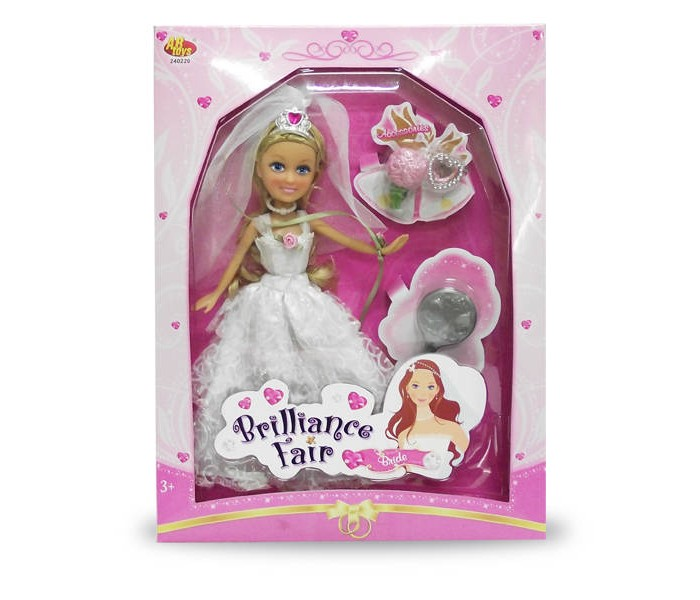 Brilliance Fair Кукла Невеста 26,7 см с расческой, кольцом и букетомКукла Невеста 26,7 см с расческой, кольцом и букетомBrilliance Fair Кукла Невеста 26,7 см с расческой, кольцом и букетом Сегодня у Невесты самый счастливый день — она выходит замуж. Она очень сильно нервничает из-за этого события, поэтому никак не может собраться. Помоги ей собраться, и тогда благодарная кукла позовет тебя на свою свадьбу. И кто знает, может быть, именно ты поймаешь букет невесты после празднования.  Особенности:  подвижные ручки и ножки головка поворачивается. В наборе: кукла, расческа, кольцо, букет.<br>