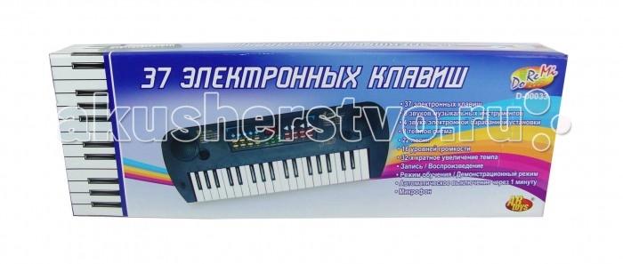 Музыкальная игрушка DoReMi Синтезатор с микрофоном 37 клавиш 54 смСинтезатор с микрофоном 37 клавиш 54 смDoReMi Синтезатор с микрофоном 37 клавиш 54 см с красочным дизайном привлечет внимание вашего ребенка и поспособствует его желанию научиться музыки.  Особенности: Синтезатор имеет 37 электронных клавиш и кнопки, позволяющие добавлять различные звуковые эффекты при составлении мелодий.  При пользовании синтезатором доступно: 8 звуков музыкальных инструментов, 8 темпов ритма, 4 звука электронной барабанной установки, 22 песни, 16 уровней громкости, 32- кратное увеличение темпа, запись и воспроизведение, режим обучения, автоматическое выключение через 1 минуту. В комплект с синтезатором входит микрофон и сетевой адаптер. С помощью этого синтезатора ребенок сможет развить свои музыкальные способности и дать возможность друзьям и близким насладиться великолепным концертом. Для работы игрушки необходимо купить 4 батарейки напряжением 1,5V типа АА (не входят в комплект).<br>