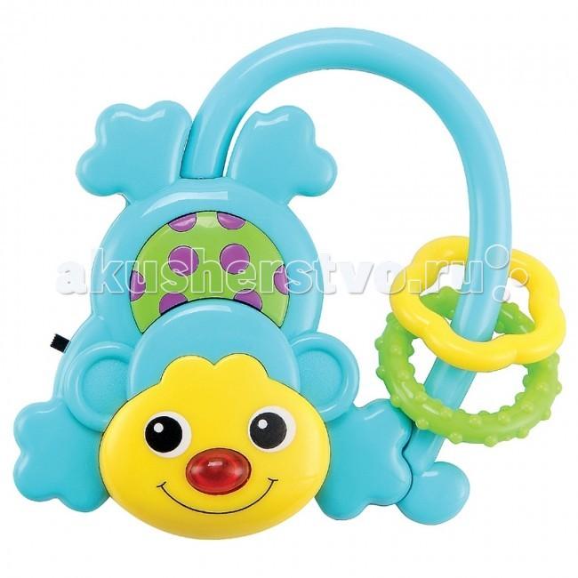 Погремушка Happy Baby Музыкальная обезьянка MoncusМузыкальная обезьянка MoncusHappy Baby Музыкальная обезьянка Moncus.   Небольшая яркая погремушка в виде обезьянки прекрасно подойдёт для вашего малыша.  Хвост-держатель удобен для детской ручки.  Сюрпризом для крохи будет весёлая песенка при включении и загорающийся красный нос.  Музыка развивает чувство ритма, музыкальный слух, память и воображение. Безопасное зеркальце на спинке обезьянки поможет ребёнку познакомиться со своим отражением.  Подвижные детали в виде плоских цветочков при потряхивании издают шумовые звуки.  Такие детали служат для развития осязания, учат двигать пальчиками. Батарейки в комплекте. Материал: АБС-пластик, термопластичная резина<br>
