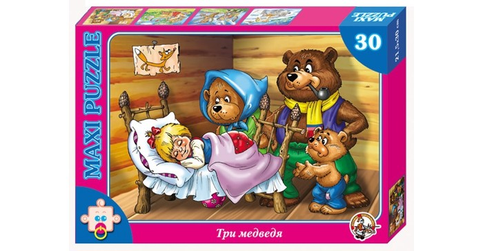 Десятое королевство Пазл Три медведя (30 элементов)Пазл Три медведя (30 элементов)Десятое королевство Пазл Три медведя (30 элементов)   Популярная занимательная игра, которая развивает мелкую моторику рук, память, внимание посредством собирания яркой и красочной картинки, состоящей из мелких деталей. Огромное разнообразие изображений никого не оставит равнодушным!  Особенности: Размер картинки - 21.5х30 см Количество элементов - 30 шт. Толщина картона - 1.25 мм<br>
