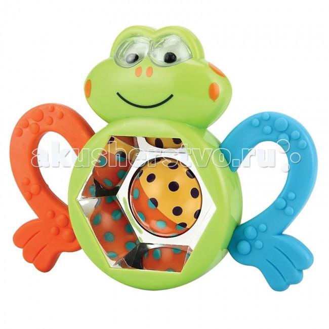 Погремушка Happy Baby прорезыватель Веселый лягушонок Frogusпрорезыватель Веселый лягушонок FrogusHappy Baby Погремушка-прорезыватель Веселый лягушонок Frogus. Развивает: координацию движений; слуховое, тактильное и зрительное восприятие; познавательный интерес.  Особенности: шарик в середине лягушонка крутится внутри него шарики создают шумовой эффект прорезыватели выполнены в виде лапок<br>