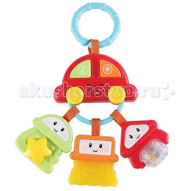 Подвесная игрушка Happy Baby Брелок с ключами SundyБрелок с ключами SundyПодвесная игрушка Happy Baby Брелок с ключами Sundy. Развивает: слуховое и зрительное восприятие; мелкую моторику и тактильные ощущения; пространственное восприятие; познавательный интерес.  Особенности: встроенный звуковой эффект разъемное кольцо для удобного крепления к различным предметам веселые персонажи на кнопках подвеска в виде автомобиля батарейки в комплекте<br>