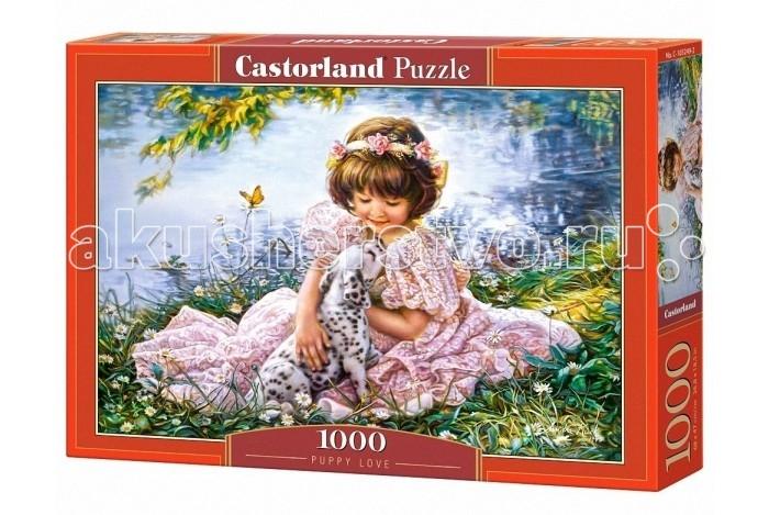 Castorland Пазл Девочка и щенок 1000 элементовПазл Девочка и щенок 1000 элементовСобрав полностью все детали этого пазла, вы получите красивую картинку за авторством художницы Сандры Кук. На иллюстрации изображена маленькая девочка, сидящая возле водоема вместе со своим маленьким щенком-далматином. На девочке надето красивое платье, а на голове ее можно увидеть красивое украшение. Вокруг собачки и ее маленькой хозяйки можно увидеть множество ромашек, порхающих бабочек. Если собрать и склеить картинку, а затем повесить ее в комнате, то можно создать дома приятную атмосферу уюта.   Основные характеристики:   Размер упаковки: 35 x 25 x 5 см Размер собранной картины: 68 x 47 см Размер одного элемента: 1.8 х 1.6 см Количество элементов: 1000 шт. Масса: 560 г<br>