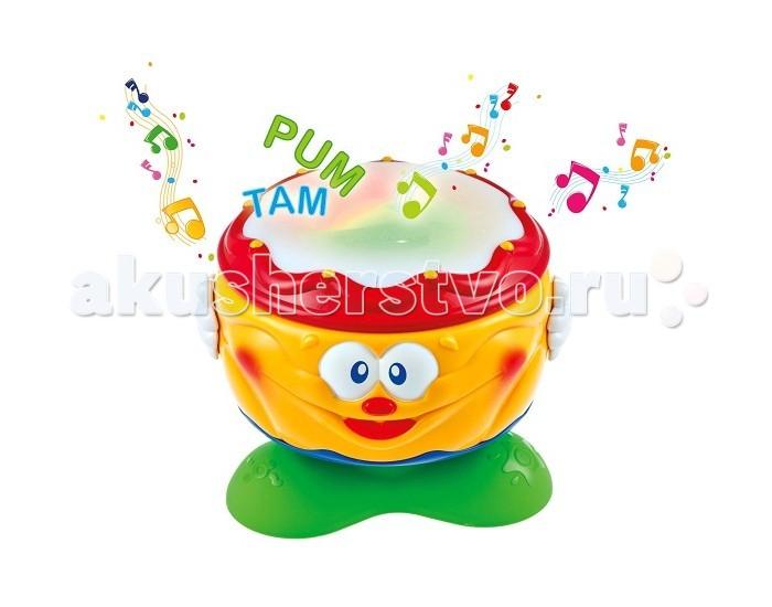 Музыкальная игрушка Clementoni Baby Веселый барабанчикBaby Веселый барабанчикВеселый барабанчик Baby Clementoni    Особенности:   Играть с барабанчиком - одно удовольствие!   Ваш ребёнок может крутить его, хлопать ладошками и менять музыкальные режимы, нажимая на ручки барабана.   Каждый раз, когда начинают звучать мелодии, на верхней части барабанчика зажигаются разноцветные огоньки и мигают в такт музыке.   Питание от трех батареек АА (установлены).<br>