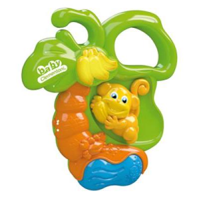 Погремушка Clementoni Baby Электронная ОбезьянкаBaby Электронная ОбезьянкаЭлектронная погремушка Baby Clementoni Обезьянка   Особенности:    Когда Вы двигаете обезьянку вверх-вниз, она разговаривает и поет, а гроздь бананов светится.   Шарики внутри погремушки забавно звенят.   Питание от трех батареек LR44 (установлены).<br>