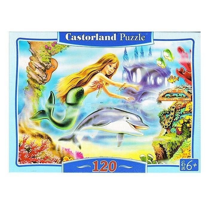 Castorland Пазл Русалочка 120 элементовПазл Русалочка 120 элементовРабота над пазлом поможет ребенку стать более усидчивым и внимательным. Он усвоит понятие между частями и общим целым, улучшит логические навыки и пространственное воображение. Пазл Castorland сделан из прочного картона и имеет идеальное качество стыков. Детали очень легко соединяются между собой, поэтому у ребенка во время сборки не возникнет абсолютно никаких затруднений.  Основные характеристики:   Размер упаковки: 18 х 3.5 х 13 см Размер собранной картины: 32 х 23 см Количество элементов: 120 шт.<br>