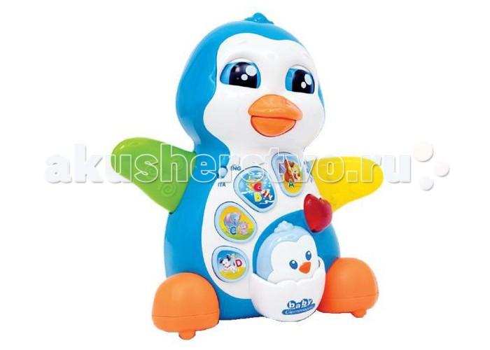 Clementoni Baby Мамочка и малыш-пингвиненокBaby Мамочка и малыш-пингвиненокМамочка и малыш-пингвиненок Baby Clementoni взаимодействуют друг с другом.  Мама хлопает крыльями, закрывает глаза и двигает клювом.  Пингвиненок поет (7 песен), рассказывает стихи, помогает малышу изучить буквы.<br>