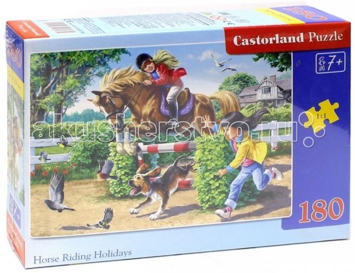 Castorland Пазл Верховая езда 180 элементовПазл Верховая езда 180 элементовПазл Castorland Верховая езда обязательно придется по душе всем маленьким любителям собирания пазлов. Собрав этот пазл, вы получите картинку с изображением лошади и ее молодых наездниц. Пазлы Castorland - это высокий уровень полиграфии, четкие и красочные цвета, продуманные иллюстрации, уникальность формы каждой детали, разнообразие тематик. Собирание пазла развивает у ребенка мелкую моторику рук, тренирует наблюдательность, логическое мышление, знакомит с окружающим миром, с цветами и разнообразными формами, учит усидчивости и терпению, аккуратности и вниманию.  Основные характеристики:   Размер упаковки: 24,5 х 17,5 x 3,5 см Количество элементов: 180 шт.<br>