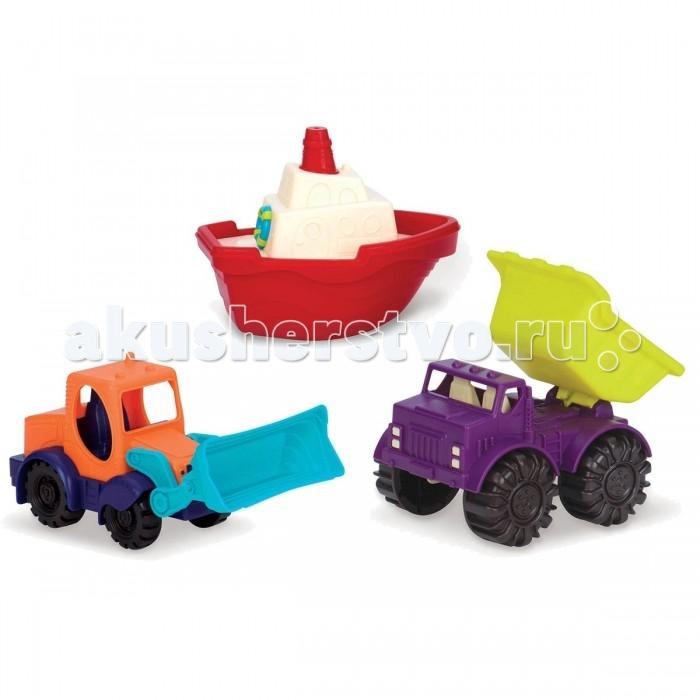 Battat Набор игрушек Мини-техника 3 шт.Набор игрушек Мини-техника 3 шт.Набор игрушек Мини-техника предназначен для веселой игры с песком и водой, включает в себя 2 машинки и 1 лодочку. Загрузите песок, добавьте немного воды и постройте свой замок мечты! Теперь это так просто!  Ишрушки выполнены из яркого. безопасного для детей пластика.  Состав набора: лодочка: 15,2 х 12,7 х 10,2 см, мини-погрузчик: 14 х 10,2 х 9,5 см, мини-самосвал: 12,7 х 10,2 х 10,2 см<br>