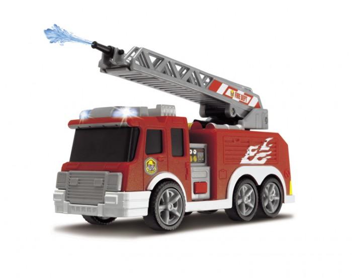 Dickie Пожарная машина с водой 3302002Пожарная машина с водой 3302002Dickie Пожарная машина с водой (свет, звук) поможет ребенку сделать игровой сюжет более захватывающим.  Особенности: Пожарная машинка представлена в размере 15 см в длину и изготовлена из прочного пластика.  Она дополнена подвижными колесами и вышкой, при помощи которой можно спасти выдуманных персонажей в игрушечном городе. Машинка дополнена эффектами света и звука, а также имеет водяную помпу, которая срабатывает от нажатия на кнопку внутри салона.  При помощи таких эффектов, играть с такой машинкой будет еще интереснее. Такая игрушечная пожарная машинка с инерционным двигателем порадует мальчика и поможет придумать множество игр.<br>