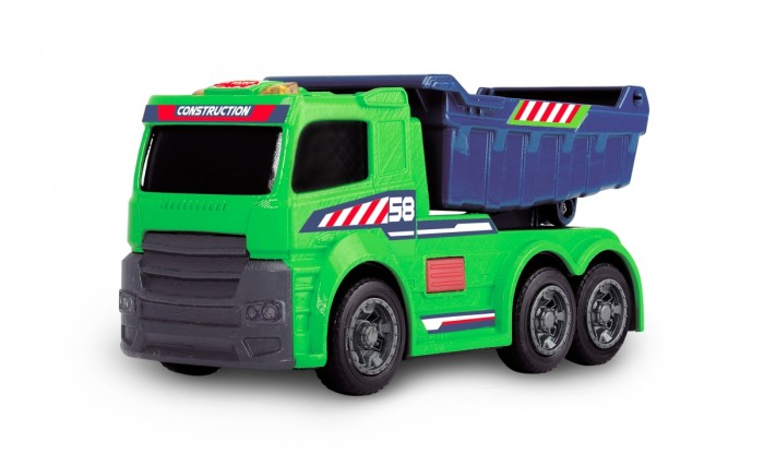 Dickie Игрушечный грузовик 15 смИгрушечный грузовик 15 смDickie Игрушечный грузовик 15 см (свет, звук) - это мощный озвученный самосвал с подвижным кузовом, на его кабине горят огни. Такая машинка придется по душе любому мальчику, потому что она реалистичная и интересная.   Она может пополнить собой личный игрушечный автопарк мальчика и дополнить множество сюжетных игр.<br>