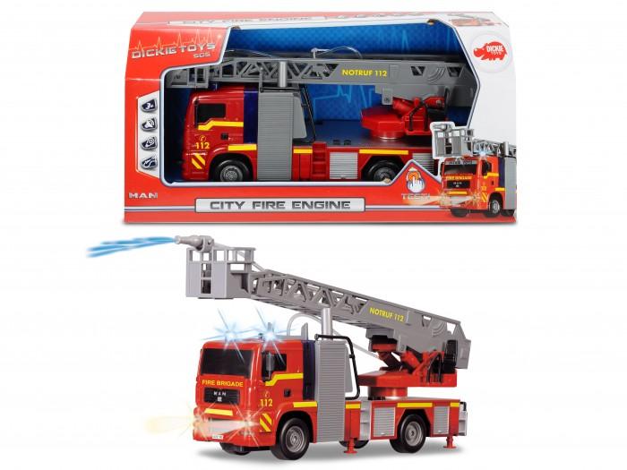 Dickie Пожарная машина с водой 31 смПожарная машина с водой 31 смDickie Пожарная машина с водой (свет, звук, брызгает водой) незаменимый помощник при тушении воображаемых пожаров. Так как она имеет специальный водомет.   Машинка оснащена звуком и световыми эффектами.   В комплект так же входят пальчиковые батарейки, которые позволяют игрушке работать. Юный пожарник по достоинству оценит такое приобретение.<br>