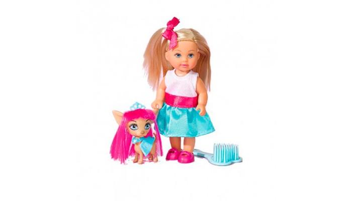 Simba Кукла Еви со стильной собачкой 12 cм