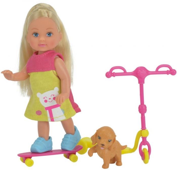 Simba Кукла Еви на скутере + скейт и собачка