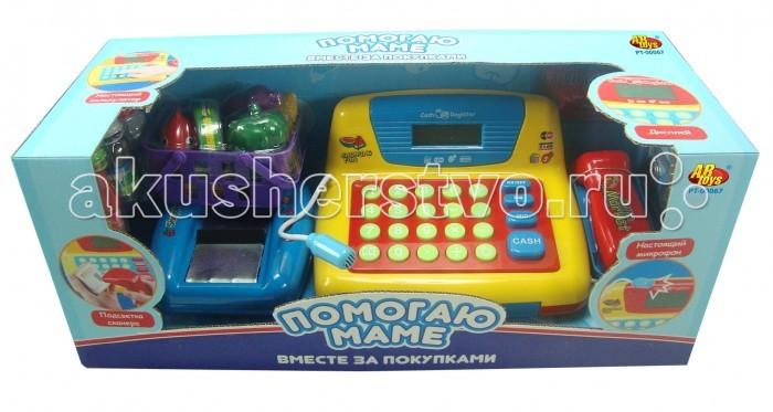 ABtoys Помогаю Маме Касса эл/мех в наборе с продуктами и аксессуарами со звуком PT-00067(34369)