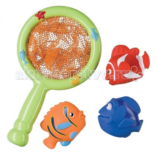 Happy Baby Набор игрушек для ванной Little FisherНабор игрушек для ванной Little FisherHappy Baby Набор игрушек для ванной Little Fisher развивает: мелкую моторику; творческое мышление; познавательный интерес.  Особенности: рыболовный сачок и 3 рыбки яркие красивые персонажи выполнены из приятного материала  Уход: Вымыть перед использованием Рекомендуется мыть водой с мылом, и тщательно ополаскивать. Так же можно чистить влажной салфеткой. Не использовать для очистки едкие моющие средства, ребенок может проглотить их остатки Сушить при комнатной температуре<br>