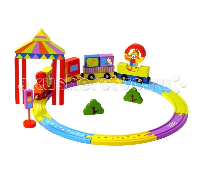 Деревянная игрушка Toys Lab Конструктор Цирковой поездКонструктор Цирковой поездКонструктор Цирковой Поезд от фирмы Toys Lab обязательно понравится ребенку своими яркими деталями. С помощью элементов, входящих в набор, можно собрать большой, красивый поезд, который будет ездить по своей ветке железной дороги, мимо деревьев, купола цирка и других красивых деталей окружающего мира.   Это не только отличная развивающая игрушка-конструктор, это и полноценный игровой набор для различных ролевых игр. В набор входят детали различных форм, размеров и цветов. Игрушка развивает пространственное воображение ребенка и способствует изучению геометрических фигур, способствует развитию созидательных навыков.   Детали поезда выполнены из натурального дерева и окрашены безопасной нетоксичной краской. Это очень важно для обеспечения безопасности малыша.<br>