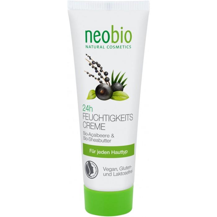 Neobio Увлажняющий крем для лица 24 часа 50 млУвлажняющий крем для лица 24 часа 50 млNeobio Увлажняющий крем для лица 24 часа 50 мл.  Neobio 24 часа увлажняющий крем для лица с био-алоэ и био-асаи. Для всех типов кожи. Дарит ощущение свежести и заряжает вашу кожу энергией на весь день.   Композиция ценных органических масел ши и асаи проникают в глубокие слои эпидермиса, бережно увлажняя и смягчая кожу. Масло винограда и био-алоэ помогают поддерживать гладкость кожи, предупреждая обезвоживание и обеспечивая защиту от негативного влияния окружающей среды.  Состав: Вода, Спирт денатурированный* , Соевое масло*, Масло плодов дерева ши*, Полиглицерил-3-дицитрат/стеарат, Масло семян винограда, Глицерин, Цетеариловый спирт, Изоамил лаурат, Миндальное масло, Дикрахмала фосфат, Сок листьев алоэ*, Масло ягод асаи*, Воск сумаха, Ксантановая смола, Натрия стеароил глютамат, Натрия лактат, Витамин Е, Молочная кислота, Лимонная кислота, Масло семян подсолнечника*, Этил кокоил аргинат пирролидон карбоновой кислоты, Отдушка ароматизатор эфирные масла**                                                   *контролируемое биологическое выращивание           **натуральные эфирные масла.  Применение: Утром и/или вечером нанести на предварительно очищенную кожу лица, шеи и области декольте.<br>