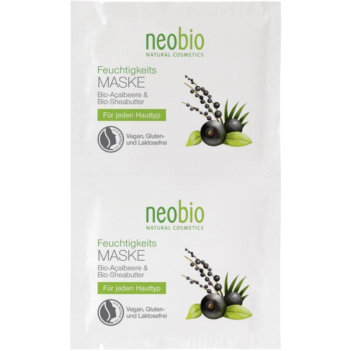 Neobio Увлажняющая маска для лица 2 x 7,5 млУвлажняющая маска для лица 2 x 7,5 млNeobio Увлажняющая маска для лица 2 x 7,5 мл.  Хотите, чтобы кожа лица сияла здоровьем и излучала свежесть? Попробуйте увлажняющую маску для лица от компании Neobio.  Изысканный состав с био-асаи и био-алоэ обеспечивает интенсивный уход любому типу кожи. Масла кокоса, ши и виноградных семян надолго увлажняют эпидермис, а растительный глицерин противостоит потере влаги и защищает клетки от старения. В результате кожа лица выглядит ухоженной и подтянутой, приобретает здоровый оттенок, исчезают неглубокие морщинки.  Увлажняющая маска: наполняет Вашу кожу влагой и полезными веществами комплексно оздоравливает, выравнивает рельеф лица защищает клетки от старения обеспечивает коже бархатистость и мягкость, не допуская шелушения. Рекомендации к использованию: маска подходит для интенсивного увлажнения любых типов кожи.  Активные компоненты: Целебное масло асаи – обладает превосходными увлажняющими, восстанавливающими и энергизирующими свойствами. Богатый состав масла, содержащий жирные кислоты, витамины, протеины, аминокислоты и антиоксиданты, наполняет клетки энергией и оздоравливает эпидермис.  Способ применения: 1-2 раза в неделю обильно нанести на предварительно очищенную кожу лица, через 10-15 минут остатки маски нежно вмассировать или удалить ватным диском. &#8195; Состав: Вода, Спирт денатурированный* , Соевое масло*, Масло семян дерева ши*, Полиглицерил-3-дицитрат/стеарат, Кокосовое масло*, Масло семян винограда, Глицерин, Цетеариловый спирт, Изоамиллаурат, Масло семян какао*, Сок листьев алоэ вера*, Воск сумаха, Ксантановая смола, Масло плодов капустной пальмы*, Натрия стеароилглютамат, Стеролы рапса, Витамин Е, Натрия лактат, Молочная кислота, Масло подсолнечника*, Натрия гиалуронат, Лимонная кислота, Этил кокоил аргинат пирролидонкарбоновой кислоты, Отдушка ароматизатор**, *контролируемое биологическое выращивание, **натуральные эфирные масла.<br>