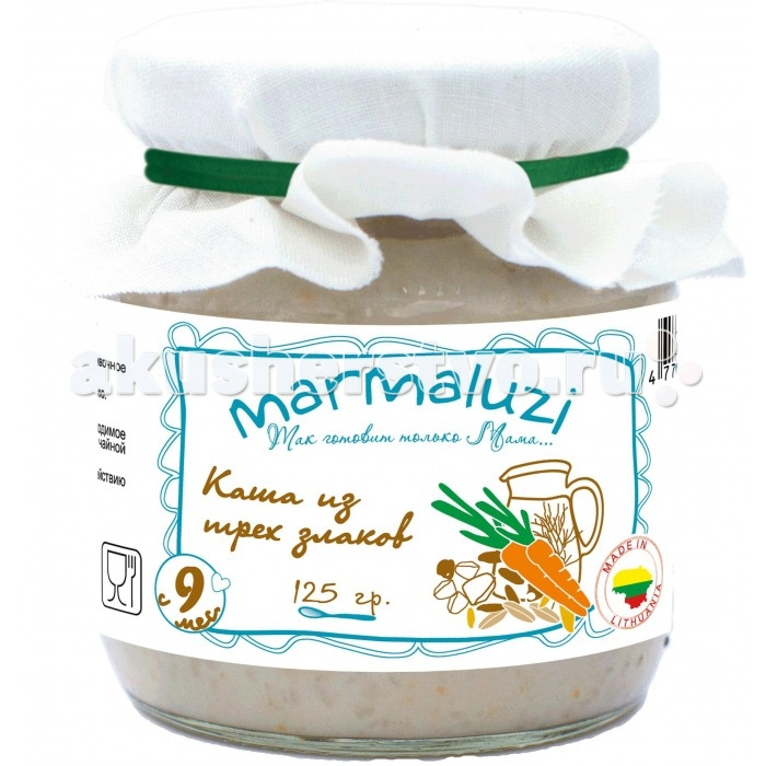 Marmaluzi Молочная каша из 3-х злаков для детского питания с 9 мес. 125 гМолочная каша из 3-х злаков для детского питания с 9 мес. 125 гМолочная каша из 3-х злаков  Marmaluzi для детского питания с 9-ти месяцев, 125 гр , стерилизованная, крупноизмельченная  Состав: хлопья 19,8%: (в равных пропорциях - рисовые хлопья, перловые хлопья, овсяные хлопья), молоко 10%, морковь 5%, масло сливочное 0,5%, вода.  Вкусная кашка из трех злаков на молоке от Marmaluzi изготавливается только из натуральных ингредиентов: ячменной, рисовой и овсяной крупы, морковки и отборного цельного молока с литовских ферм. Каша имеет не слишком густую консистенцию и приятный вкус, который обязательно понравится Вашему малышу. Продукт отлично подойдет для прикорма ребенка в период проб на вкус более тяжелых продуктов. Злаки и морковка хорошо перевариваются детским организмом, положительно влияя на перистальтику кишечника. Каша Marmaluzi рекомендуется для прикорма детей старше 9 месяцев.  Не содержит консервантов, красителей, ароматизаторов и глютена.  Без добавления соли, сахара, крахмала. Продукт готов к употреблению. Внимание! Крышка должна издать хлопок при открытии. Если этого не произошло, не употребляйте продукт.  Рекомендации по употреблению: Перед кормлением ребенка содержимое баночки тщательно перемешайте, отложите необходимое количество и подогрейте на водяной бане или в микроволновой печи. Повторный подогрев не рекомендуется. Начинать кормление с 1 чайной ложки, постепенно увеличивая объем в соответствии с возрастом. Условия хранения: Хранить при температуре от +5 &#730;C до +25 &#730;C и с относительной влажности не более 75 %, не подвергать воздействию высокой влажности, прямых солнечных лучей и заморозке. После вскрытия хранить в холодильнике не более суток. Энергетическая и пищевая ценность на 100 г: Энергетическая ценность: 360 кДж/ 85 ккал, белки – 2,6 г, углеводы - 15,5 г, калий (К) - 75 мг.  Расслоение пюре не является признаком ухудшения его качества. Срок годности: 24 месяца.<