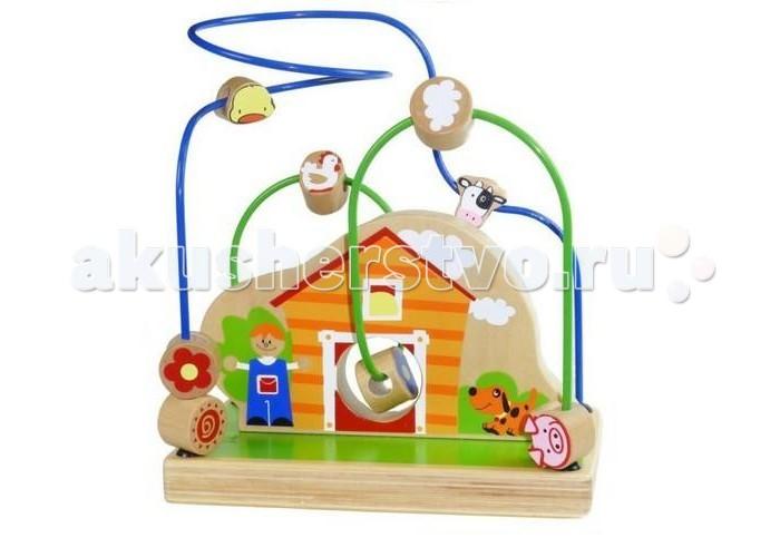 Деревянная игрушка Toys Lab Лабиринт Веселая фермаЛабиринт Веселая фермаЗабавный лабиринт Веселая ферма от фирмы Toys Lab порадует малыша. Ведь это так весело перемещать красочные бусины с различными картинками по проволочному лабиринту вокруг домика, где есть милые домашние животные.   Игрушка развивает пространственное воображение ребенка и способствует изучению геометрических фигур, улучшает мелкую моторику и координацию движений.   Детали лабиринта выполнены из натурального дерева и окрашены безопасной нетоксичной краской. Это очень важно для обеспечения безопасности малыша.<br>