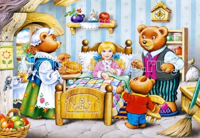 Castorland Пазл Три медведя 260 элементовПазл Три медведя 260 элементовСказка про Машу, которая наткнулась на домик медведей, любима многими малышами. На картинке, которую ребенок соберет из деталей яркого пазла, изображен ключевой момент увлекательной истории: медведи вернулись домой и застали Машу в мишуткиной кроватке. Во время сборки пазла ребенок станет более внимательным и аккуратным, улучшит логические навыки, а также пространственное мышление.  Основные характеристики:   Размер упаковки: 25 x 18 x 4 см  Размер собранной картины: 32 х 23 см Количество элементов: 260 шт.<br>