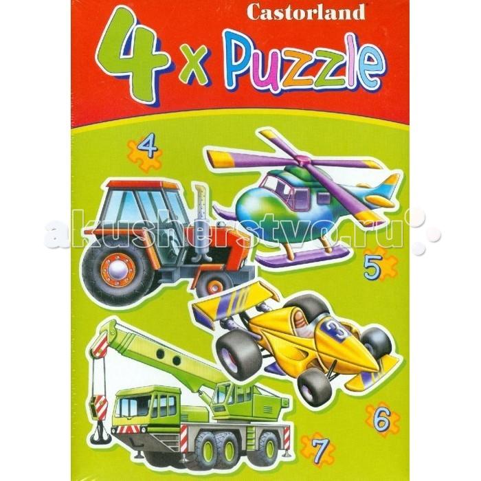 Castorland Пазл 4 в 1 Транспорт 22 элементаПазл 4 в 1 Транспорт 22 элементаПазл Транспорт, без сомнения, придется по душе вашему ребенку. В комплект входят четыре пазла с изображением различных видов транспорта: трактора, гоночной машины, вертолета и крана. Пазлы включают в себя 4, 5, 6 и 7 элементов.  Пазлы - замечательная развивающая игра для детей. Собирание пазла развивает у ребенка мелкую моторику рук, тренирует наблюдательность, логическое мышление, знакомит с окружающим миром, с цветом и разнообразными формами, учит усидчивости и терпению, аккуратности и вниманию.  Основные характеристики:   Размер упаковки: 27 х 22 х 5 см Размер собранной картины: 32 х 23 см Количество элементов: 22 шт. Вес: 150 г<br>