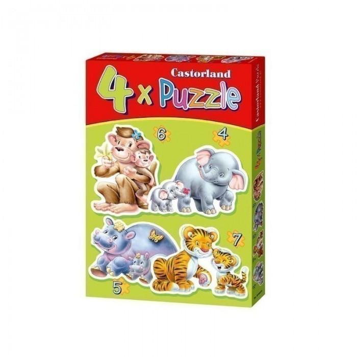 Castorland Пазл 4 в 1 Дикие животные 22 элементаПазл 4 в 1 Дикие животные 22 элементаПазл Дикие животные, без сомнения, придется по душе вашему ребенку. В комплект входят четыре пазла с изображением различных диких животных: бегемотов, тигров, обезьян и слонов. Пазлы включают в себя 4, 5, 6 и 7 элементов.  Пазлы - замечательная развивающая игра для детей. Собирание пазла развивает у ребенка мелкую моторику рук, тренирует наблюдательность, логическое мышление, знакомит с окружающим миром, с цветом и разнообразными формами, учит усидчивости и терпению, аккуратности и вниманию.<br>