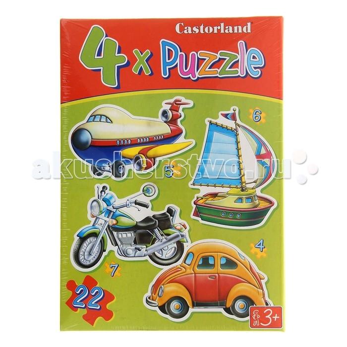 Castorland Пазл 4 в 1 Транспорт 22 элемента C4-04119Пазл 4 в 1 Транспорт 22 элемента C4-04119В набор пазлов Транспорт входят 4 отдельные картинки. Они предназначены для малышей и изображают один из видов транспорта: парусник, самолет, мотоцикл и автомобиль. Пазлы включают в себя 4, 5, 6 и 7 элементов. Небольшое количество элементов, их крупный размер и удобная форма позволяют малышу самостоятельно собрать пазл без особых трудностей.  Основные характеристики:   Размер упаковки: 27 х 22 х 5 см  Размер собранной картины: 32 х 23 см Количество элементов: 22 шт.<br>