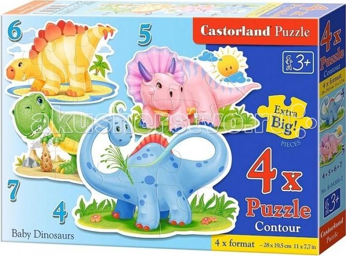 Castorland Пазл 4 в 1 Динозаврики 32 элементовПазл 4 в 1 Динозаврики 32 элементовНабор пазлов Динозаврики позволяет собрать 4 изображения различных древних ящеров. Гигантские животные на картинках совсем не страшные, поскольку нарисованы они в мультяшной, а не реалистичной манере. Все пазлы разнятся по числу элементов. Они включают в себя 4, 5, 6 и 7 деталей, изготовленных из высокопрочного картона, соответственно. Элементы достаточно крупны, чтобы с их сборкой могли справляться даже маленькие дети.  Основные характеристики:   Размер упаковки: 24.5 х 3.5 х 17.5 см Размер собранной картины: 29 x 20 см Количество элементов: 32 шт. Вес: 150 г<br>
