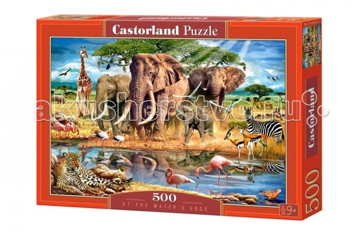 Castorland Пазл В краю воды 500 элементовПазл В краю воды 500 элементовПазл В краю воды позволяет собрать красочную картинку, изображающую тропический пейзаж. На нем запечатлены звери в джунглях во время водопоя. Для изготовления 500 высокопрочных деталей этого пазла был использован прессованный картон. Элементы хорошо подходят друг к другу. Готовую картинку можно будет склеить, чтобы она украсила одну из стен вашего дома.  Основные характеристики:   Размер упаковки: 32 x 22 x 4.5 см Размер собранной картины: 47 х 33 см Количество элементов: 500 шт. Вес: 300 г<br>