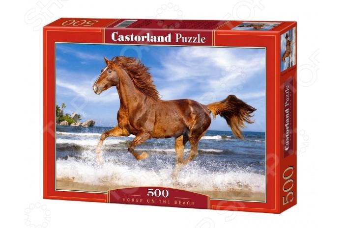 Castorland Пазл Лошадь 500 элементовПазл Лошадь 500 элементовИзящная лошадь гарцует у кромки воды. Смотря на картину, поражаешься силой и красотой. Собирается полотно очень просто и с задачей может справиться даже ребенок от шести лет при незначительной помощи взрослых. Детали выполнены из плотного картона и тщательно обработаны. При этом он не только улучшит логическое мышление, а станет более внимательным и аккуратным.  Основные характеристики:   Размер упаковки: 32 x 22 x 4.7 см Размер собранной картины: 47 х 33 см Количество элементов: 500 шт.<br>