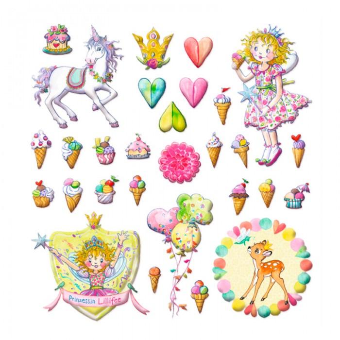Spiegelburg Наклейки Prinzessin Lilifee 11990Наклейки Prinzessin Lilifee 11990Spiegelburg Наклейки Prinzessin Lilifee 11990 Этот волшебный набор наклеек просто создан для маленьких принцесс.  В наборе вы найдете множество разнообразных наклеек, среди которых девочка-принцесса, ее любимый единорог, олененок, всевозможные пирожные и мороженое, сердечки и цветочки. Все наклейки имеют нежные пастельные цвета.   Наклейки будут прекрасно смотреться на любимых предметах девочки: тетрадях, записных книжках, мебели и игрушках. При этом девочка будет развивать фантазию и мелкую моторику рук. Наклейки отлично держатся. Они сделаны из высококачественной гипоаллерогенной бумаги.   Если хотите порадовать вашу девочку, вручите ей Наклейки Prinzessin Lillifee от немецкой компании Spiegelburg!<br>