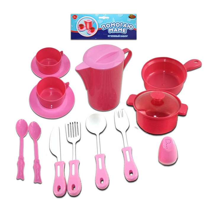 ABtoys Помогаю Маме Набор посуды для кухни 14 предметов