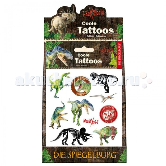 Spiegelburg Тату T-Rex 21266Тату T-Rex 21266Spiegelburg Тату T-Rex 21266 прекрасно дополнит образ юного любителя динозавров во время праздника или маскарада.   В упаковке находится один лист тату с красочными татуировками в виде разных динозавров.   Тату гипоаллергенны и абсолютно безопасны для детской кожи. Они просто переводятся и, при необходимости, легко смываются сырой мочалкой.   Немецкая компания Spiegelburg специализируется на детских товарах уже более 20 лет, это гарантирует высочайшее качество продукции и соответствие европейским стандартам.<br>