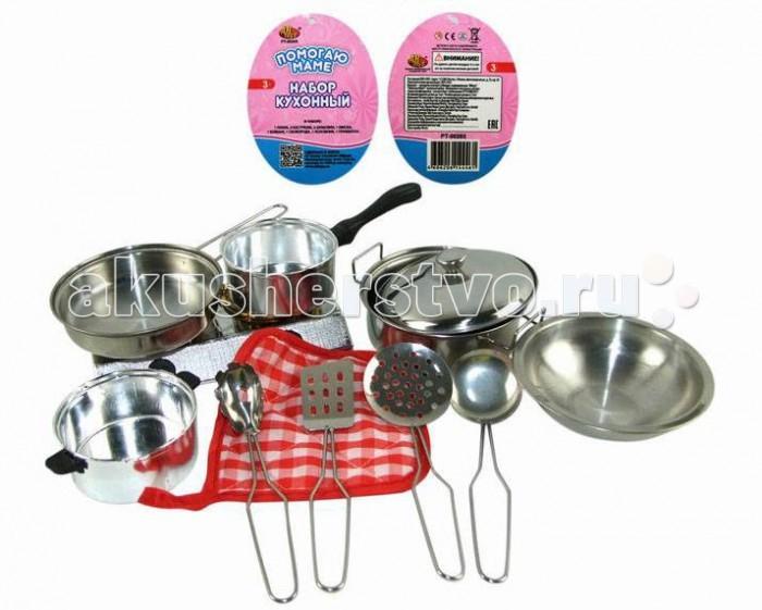 ABtoys Помогаю Маме Набор посуды металлической для кухни 11 предметов