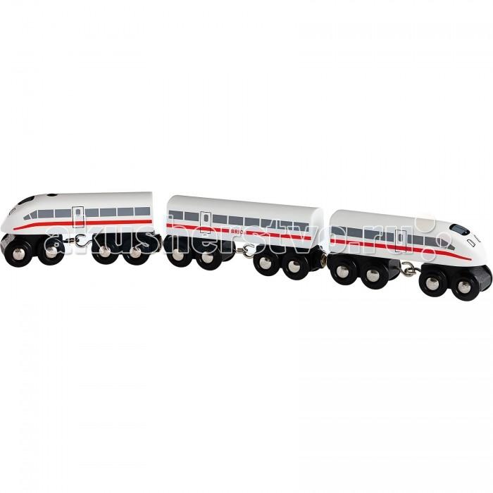 Brio Пассажирский экспресс-поезд со звуком ДеревянныйПассажирский экспресс-поезд со звуком ДеревянныйВыполненный из дерева скоростной пассажирский поезд имеет кнопочку, нажав на которую, раздается гудок. С данной игрушкой ребенок сможет доставить свои игрушки в разные реальные или воображаемые места, представить себя машинистом или контролером. Экспресс-поезд будет отлично сочетаться с любой железной дорогой от компании Brio.   Основные характеристики:   Размер упаковки: 27 х 5 х 15 см Размер поезда: 35.5 х 3.5 х 5 см<br>