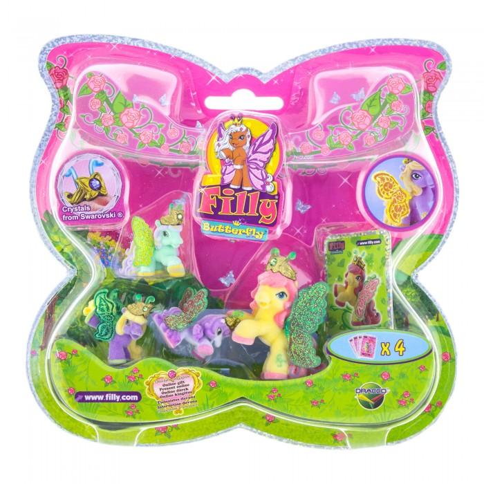 Filly Набор игровой Лошадки-бабочки с блестящими крыльями EmmaНабор игровой Лошадки-бабочки с блестящими крыльями EmmaНабор игровой Filly Лошадки-бабочки с блестящими крыльями Emma  Набор игровой Filly Лошадки-бабочки с блестящими крыльями просто восхитителен. В него входят четыре маленькие лошадки с яркими блестящими крылышками. У каждой лошадки на голове надета золотистая корона, украшенная драгоценным камнем.   Лошадка Bed со своими подругами, благодаря своим компактным размерам, сможет составить компанию девочки на любой прогулке. Собери всю коллекцию лошадок-бабочек и играй в них вместе со своими подругами!   В комплект набора входит: 4 лошадки, 4 карточки каждого персонажа, а также брошюрка с описанием других героев этой серии. Набор продается в красочной блистерной упаковке формы бабочки, окантованной по краю блестящей полоской.   Рекомендуемый возраст: от 3 лет.<br>