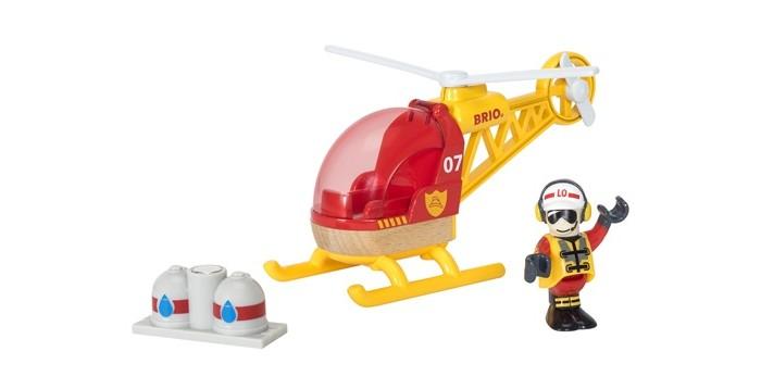 Brio Игровой набор Спасательный вертолет 3 элементаИгровой набор Спасательный вертолет 3 элементаИгровой набор Спасательный вертолет от торговой марки Brio содержит три предмета: сам летательный аппарат, фигурку человека и груз. Все составляющие набор предметы изготовлены из качественного пластика и окрашены в яркие цвета. Фигурку пилота можно легко поместить в кабину вертолета благодаря открывающемуся окну. Такой набор прекрасно подойдет для организации тематической игры.  В комплекте:   Вертолет; Груз; Фигурка.  Основные характеристики:   Размеры: 19 х 9 х 13 см<br>