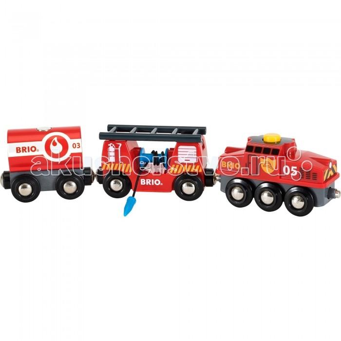 Brio Игровой набор для деревянной ж/д Пожарный поездИгровой набор для деревянной ж/д Пожарный поездИгровой набор Пожарный поезд от шведского бренда Brio - это дополнительная игрушка для деревянной железной дороги от того же бренда, чтобы игра с ней стала еще интересней. Пожарный поезд состоит из двух вагонов и локомотива, которые выполнены очень качественно и имеют интересный дизайн. С таким поездом железной дороге не будут страшны никакие пожары.  Комплектация набора:  3 вагона; Лестница; Водяной шланг.  Основные характеристики:   Размер упаковки: 27 х 5 х 15 см Размер поезда: 24.2 x 3.4 x 4.9 см<br>