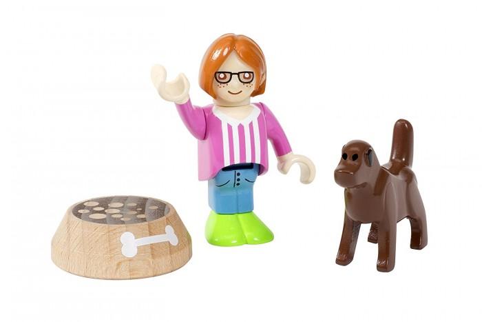 Brio Игровой набор Девочка с собакой 3 предметаИгровой набор Девочка с собакой 3 предметаУвлекательный игровой набор Девочка с собакой поможет развить у ребенка воображение, ведь ему предстоит придумать интересную сюжетно-ролевую игру. Для этого в набор входят три предмета: фигурка девочки, фигурка собаки, а также миска, из которой собака будет кушать. Все предметы из набора весьма яркие и красочные. Сделаны они из дерева, поэтому смогут прослужить достаточно долгий срок.  Комплектация набора:  Фигурка девочки; Фигурка собаки; Миска.  Основные характеристики:   Размеры: 3.8 x 5.1 x 15.2 см<br>