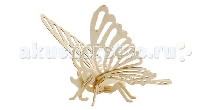 Конструктор Wooden Toys Сборная модель Бабочка (малая)Сборная модель Бабочка (малая)Бабочка это сборная деревянная игрушка - модель настоящей бабочки небольшого размера.   Все вырубные детали располагаются на фанерной доске. Для сборки модели их необходимо предварительно выдавить с места расположения и собирать в последовательности, указанной в прилагаемой инструкции.  Для того чтобы собранная модель служила долго, можно проклеить места соединения деталей при сборке.   При желании собранную модель можно раскрасить, используя любые типы краски. Производитель рекомендует темперные краски. После раскрашивания модель можно покрыть лаком.  В процессе сборки модели ребенок развивает усидчивость, пространственное и абстрактное мышление.   Все детали сборной модели изготовлены из экологически чистой древесины.  Комплектация:  2 фанерные пластины с деталями и инструкция по сборке.<br>