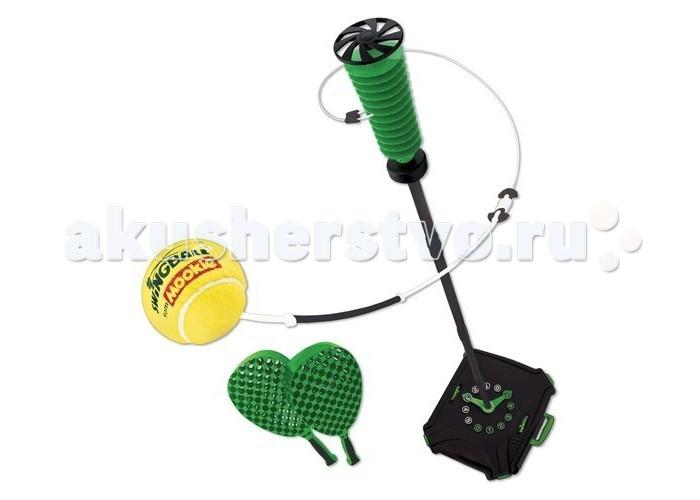 Mookie Набор для тенниса Pro SwingballНабор для тенниса Pro SwingballНабор Pro Swingball от компании Mookie представляет собой сборную стойку с счетоводом на основании, к которой крепится мяч на веревке. Воспользовавшись зеленными ракетками, можно сыграть в своеобразный теннис, угадывая траекторию мячика и развивая скорость своей реакции. В комплект также входит специальная сумка, что облегчает транспортировку и хранение набора.  Комплектация набора:  Кейс для установки стойки и хранения аксессуаров; Элементы сборной стойки; Мяч на веревке; 2 ракетки.  Основные характеристики:   Размеры: 56 х 52 х 44 см Высота стойки регулируемая: 170 см. Вес: 3.3 кг<br>