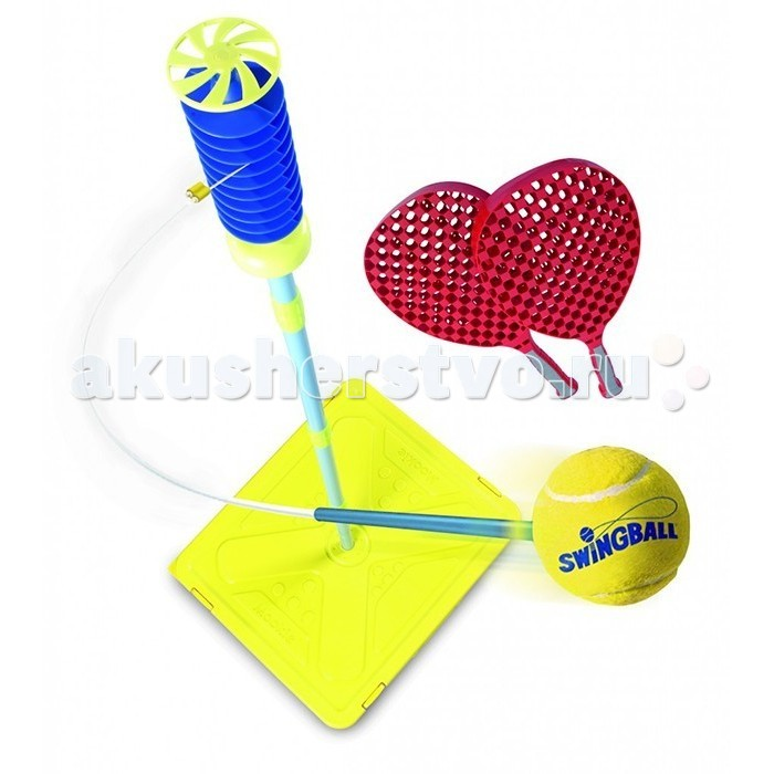 Mookie Игровой набор Веселый теннисИгровой набор Веселый теннисЭтот игровой набор представляет собой вариант популярной игры в Swingball, разновидности игры в Веселый теннис с Х-базой. Суть игры заключается в том, что мяч крепится на тросе к спиралеобразному наконечнику стойки. Игроки поочередно бьют по мечу, их цель - привести мяч к верхней или нижней части спирали.  Еще один плюс набора в том, что мячик никогда не улетит за поле игры и не потеряется. Набор легко и компактно складывается в пластиковый чемоданчик, что позволяет просто и незатейливо перевозить его с собой. Выполненный из качественного пластика веселый теннис имеет в комплекте следующие атрибуты: Х-база, устойчивость которой можно увеличить, засыпав внутрь песок или залив воду; две ракетки; теннисный мячик и сборная штанга-стойка.  Внимание!  Цветовое исполнение элементов игрушки варьируется без возможности выбора. Цена указана за 1 шт.  Комплектация набора:  2 ракетки; Мяч; Стойка.  Особенности:   Размер упаковки: 46 x 29 x 14.5 см Высота стойки: 168 см<br>