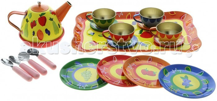 ABtoys Помогаю Маме Набор посуды металлической для чаепития в наборе 14 предметов в коробке
