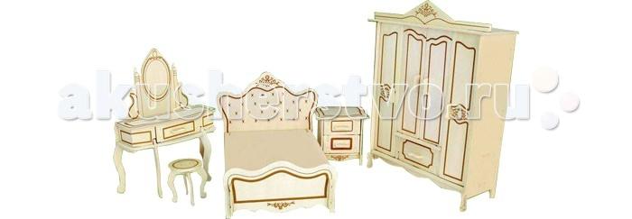 Конструктор Wooden Toys Сборная модель Мебель для спальниСборная модель Мебель для спальниМебель для спальни это сборная деревянная игрушка - модель мебели спальной комнаты. Идеально подходит для кукол Silvanian Families. В комплект входят шкаф, кровать, табурет, тумбочка и трюмо, которые прекрасно подойдут для оформления кукольного дома.  Все вырубные детали располагаются на фанерной доске. Для сборки модели их необходимо предварительно выдавить с места расположения и собирать в последовательности, указанной в прилагаемой инструкции.  Для того чтобы собранная модель служила долго, можно проклеить места соединения деталей при сборке.   При желании собранную модель можно раскрасить, используя любые типы краски. Производитель рекомендует темперные краски. После раскрашивания модель можно покрыть лаком.  В процессе сборки модели ребенок развивает усидчивость, пространственное и абстрактное мышление.   Все детали сборной модели изготовлены из экологически чистой древесины.  Комплектация:  Фанерные пластины с деталями и инструкция по сборке.<br>