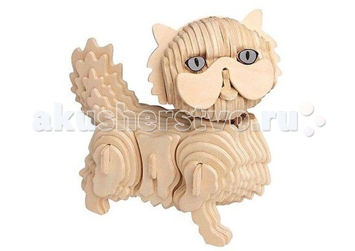 Конструктор Wooden Toys Сборная модель Кот БаюнСборная модель Кот БаюнКот Баюн это сборная деревянная игрушка - 3D пазл в виде фигурки кота.  Все вырубные детали располагаются на фанерной доске. Для сборки модели их необходимо предварительно выдавить с места расположения и собирать в последовательности, указанной в прилагаемой инструкции.  Для того чтобы собранная модель служила долго, можно проклеить места соединения деталей в процессе сборки.   При желании собранную модель можно раскрасить, используя любые типы краски. Производитель рекомендует темперные краски. После раскрашивания модель можно покрыть лаком.  В процессе сборки модели ребенок развивает усидчивость, пространственное и абстрактное мышление.   Все детали сборной модели изготовлены из экологически чистой древесины.  Комплектация:  6 фанерных пластин с деталями и инструкция по сборке.<br>