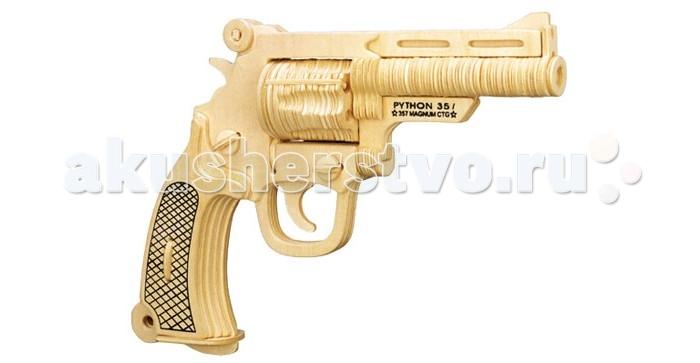 Конструктор Wooden Toys Сборная модель Пистолет кольт ПитонСборная модель Пистолет кольт ПитонКольт Питон это сборная деревянная игрушка - объемный 3D пазл настоящего стрелкового оружия, пистолета Смит и Вессон Модель 19 Комбат Магнум.   Все вырубные детали располагаются на фанерной доске. Для сборки модели их необходимо предварительно выдавить с места расположения и собирать в последовательности, указанной в прилагаемой инструкции.  Для того чтобы собранная модель служила долго, можно проклеить места соединения деталей в процессе сборки.   При желании собранную модель можно раскрасить, используя любые типы краски. Производитель рекомендует темперные краски. После раскрашивания модель можно покрыть лаком.  В процессе сборки модели ребенок развивает усидчивость, пространственное и абстрактное мышление.   Детали сборной модели изготовлены из экологически чистой древесины.  Комплектация:  2 фанерных пластины с деталями и инструкция по сборке.<br>