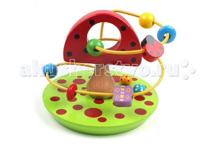 Деревянная игрушка Затейники Лабиринт с бусинками Грибок