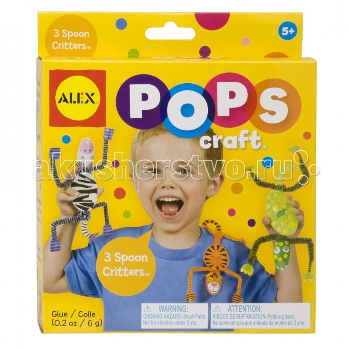 Alex Набор для творчества POPS CRAFT 3 веселые зверюшкиНабор для творчества POPS CRAFT 3 веселые зверюшкиСделайте трех забавных зверюшек, из обычных ложек. Веселое и интересное занятие для малышей, которое развивает фантазию и мелкую моторику.  В наборе: 3 пластиковые ложки, 80 наклеек, 10 бумажных заготовок, 6 цветных заготовок, чтобы сделать подвижные ручки и ножки, клей, простая инструкция.<br>